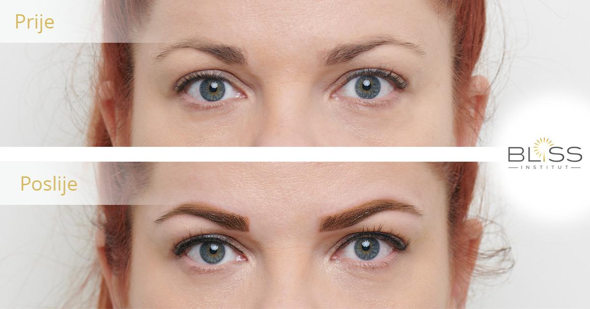 trajni make up - prije i poslije - oči