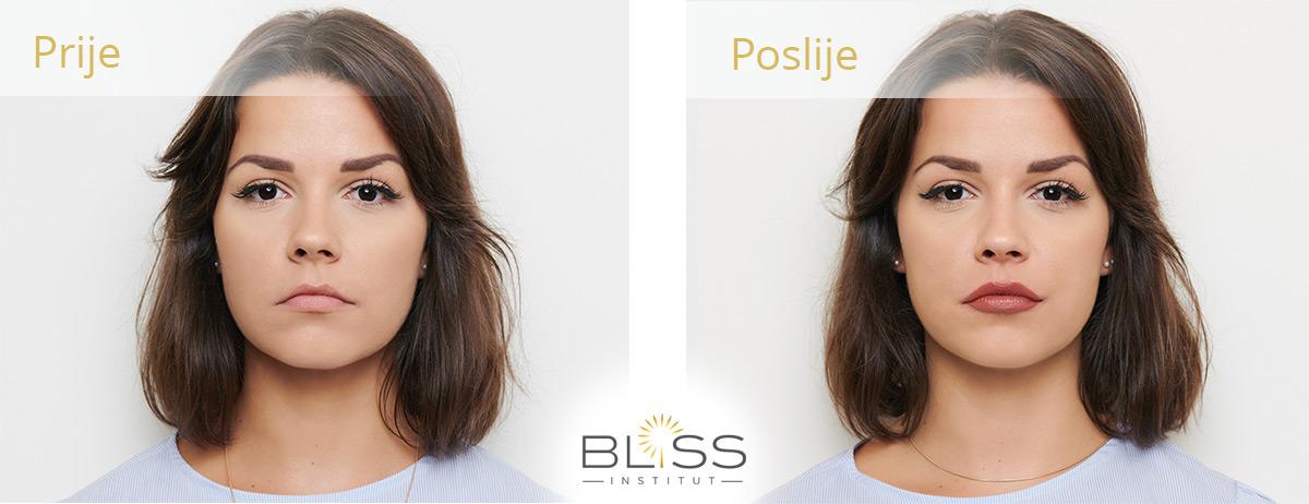trajni make up - prije i poslije - usne