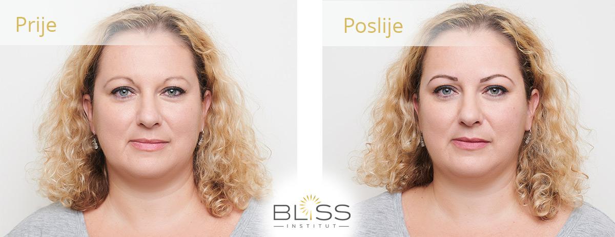 trajni make up - prije i poslije - obrve